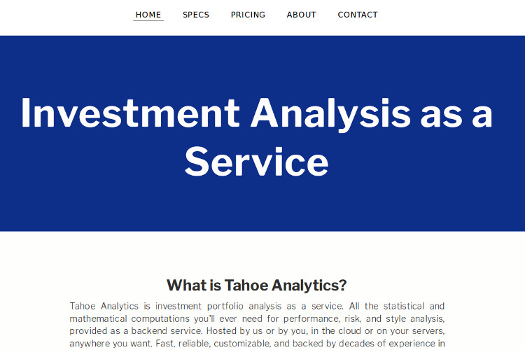 Greaterthanzero  Tahoe Analytics Investment Analysis As A Service